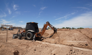 Kevin Smith of TK Construction and his 580 SN backhoe